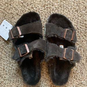 Brown Fuzzy Birkenstocks Brand New w/ Tags!